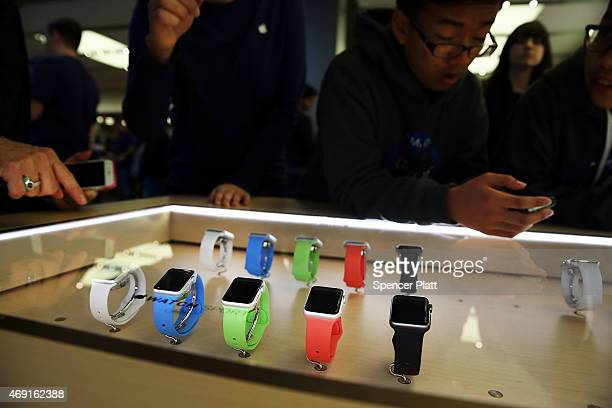 The new Apple Watch is viewed at an Apple store in Manhattan on April 10 2015 in New York New York Consumers around the world were able to try on the...