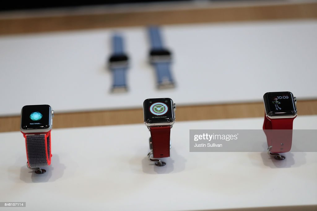 The new Apple Watch Series 3 is displayed during an Apple special event at the Steve Jobs Theatre on the Apple Park campus on September 12, 2017 in Cupertino, California. Apple held their first special event at the new Apple Park campus where they announced the new iPhone 8, iPhone X and the Apple Watch Series 3.