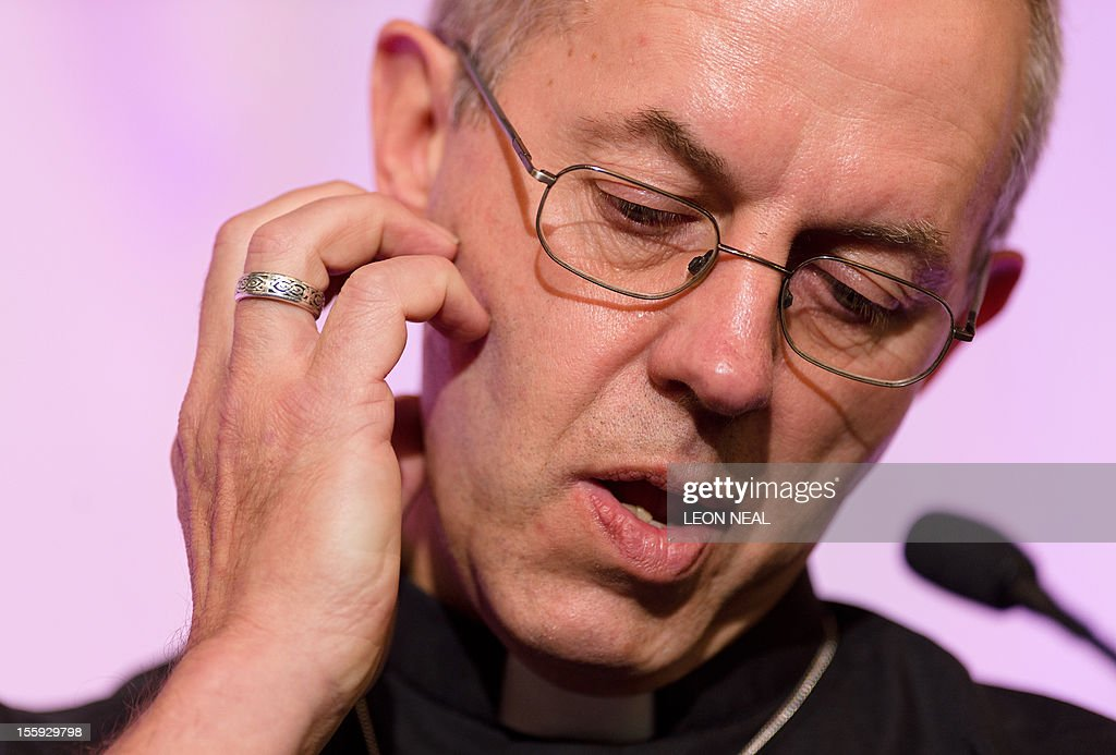 The new Archbishop of Canterbury, Justin Welby, addresses a press conference in London, on November 9, 2012. Former oil executive Justin Welby was named Friday as the next Archbishop of Canterbury, the spiritual head of the world's Anglicans, in a move aimed at healing schisms over gay and female bishops.