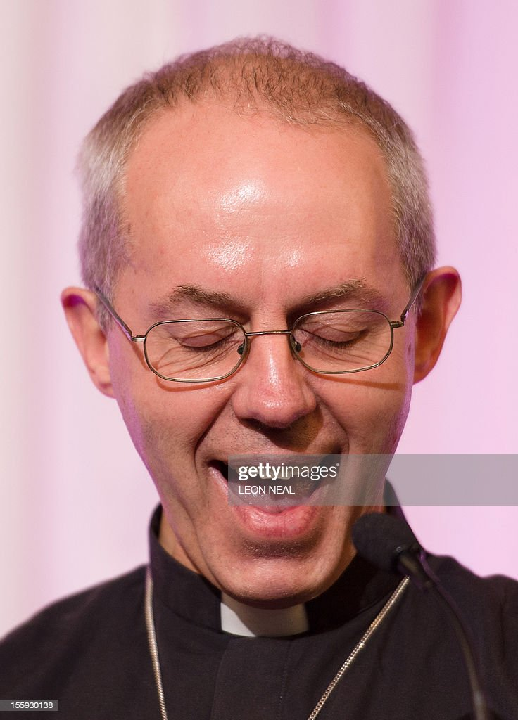 The new Archbishop of Canterbury Justin Welby addresses a press conference in London, on November 9, 2012. Former oil executive Justin Welby was named Friday as the next Archbishop of Canterbury, the spiritual head of the world's Anglicans, in a move aimed at healing schisms over gay and female bishops.