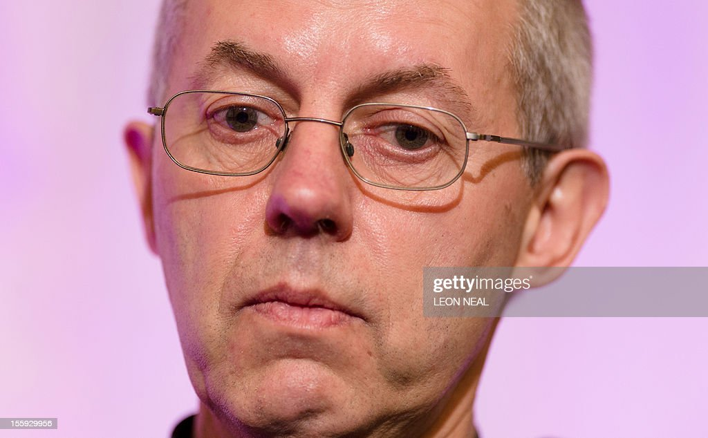 The new Archbishop of Canterbury Justin Welby addresses the media during a press conference in London, on November 9, 2012. Former oil executive Justin Welby was named Friday as the next Archbishop of Canterbury, the spiritual head of the world's Anglicans, in a move aimed at healing schisms over gay and female bishops.