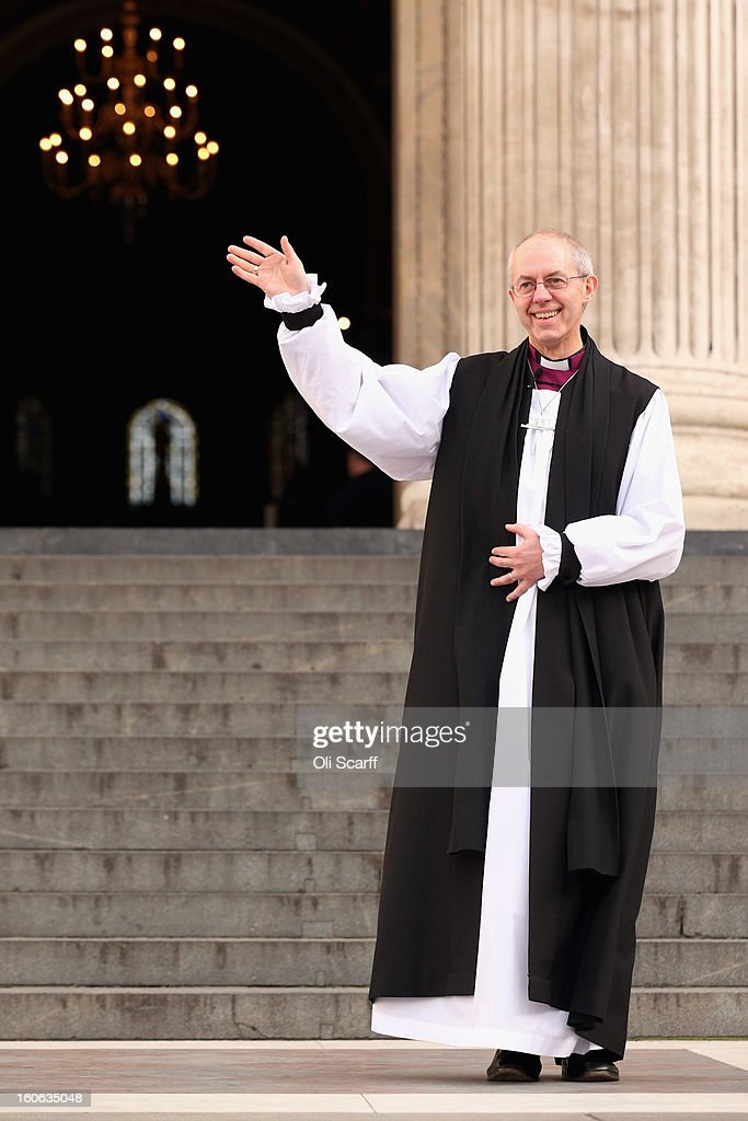 The new Archbishop Of Canterbury Justin Welby leaves St Paul's Cathedral after being confirmed into the post of Archbishop on February 4, 2013 in London, England. The Bishop of Durham Justin Welby replaces Dr Rowan Williams and becomes the 105th Archbishop of Canterbury, with the office of Archbishop conferred on him in a ceremony known as the Confirmation of Election. His enthronement will take place in March at Canterbury Cathedral.