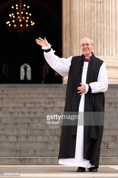 The new Archbishop Of Canterbury Justin Welby leaves St Paul's Cathedral after being confirmed into the post of Archbishop on February 4 2013 in...