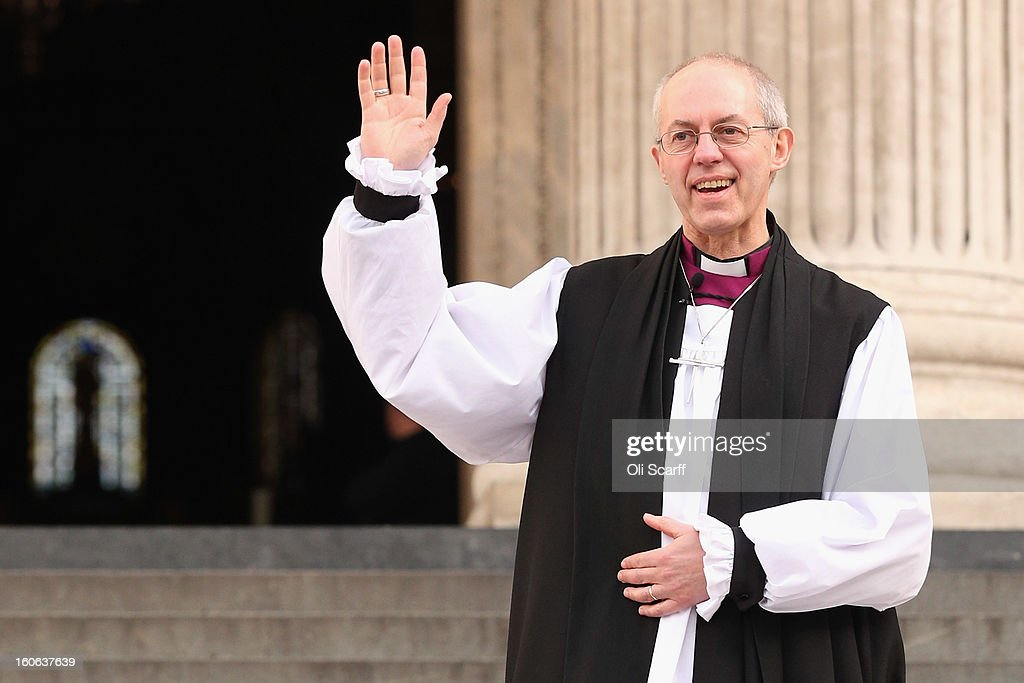 The new Archbishop Of Canterbury <a gi-track='captionPersonalityLinkClicked' href=/galleries/search?phrase=Justin+Welby&family=editorial&specificpeople=9960447 ng-click='$event.stopPropagation()'>Justin Welby</a> leaves St Paul's Cathedral after being confirmed into the post of Archbishop on February 4, 2013 in London, England. The Bishop of Durham <a gi-track='captionPersonalityLinkClicked' href=/galleries/search?phrase=Justin+Welby&family=editorial&specificpeople=9960447 ng-click='$event.stopPropagation()'>Justin Welby</a> replaces Dr Rowan Williams and becomes the 105th Archbishop of Canterbury, with the office of Archbishop conferred on him in a ceremony known as the Confirmation of Election. His enthronement will take place in March at Canterbury Cathedral.