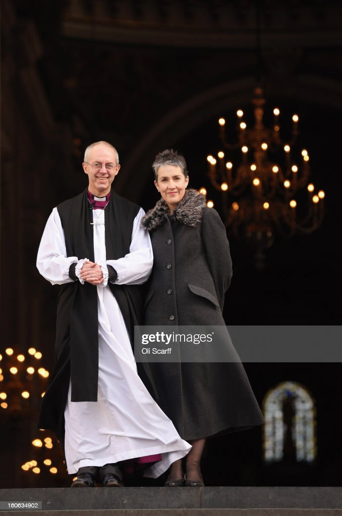 The new Archbishop Of Canterbury Justin Welby leaves St Paul's Cathedral with his wife Caroline after being confirmed into the post of Archbishop on February 4, 2013 in London, England. The Bishop of Durham Justin Welby replaces Dr Rowan Williams and becomes the 105th Archbishop of Canterbury, with the office of Archbishop conferred on him in a ceremony known as the Confirmation of Election. His enthronement will take place in March at Canterbury Cathedral.