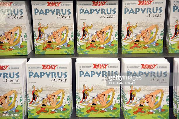 The new Asterix album 'Asterix and the missing scroll' is on display on October 22 2015 in Paris on the day of its release The 36th edition in the...