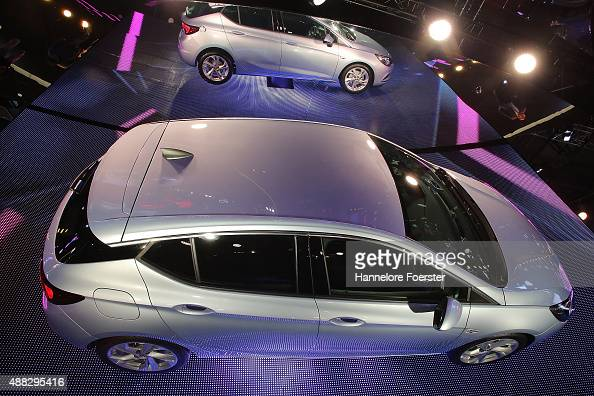 The new Astra Sport is hanging at the Opel stand at the 2015 IAA Frankfurt Auto Show during a press day on September 15 2015 in Frankfurt Germany The...