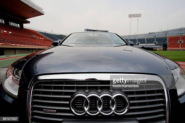 The new Audi A6 Avant stands on display during a media event at the National Stadium June 20 2005 in Tokyo Japan The German luxury car is scheduled...