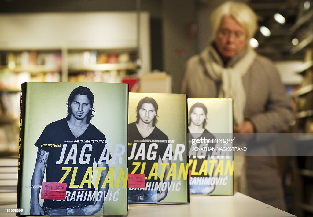 The new autobiography of AC Milan's Swedish star football player Zlatan Ibrahimovic 'I am Zlatan Ibrahimovic' is displayed at a bookstore in...