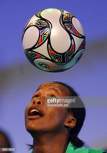 The new ball to be used during the FIFA Confederations Cup is presented at a ceremony in Johannesburg South Africa on November 22 2008 The opening...