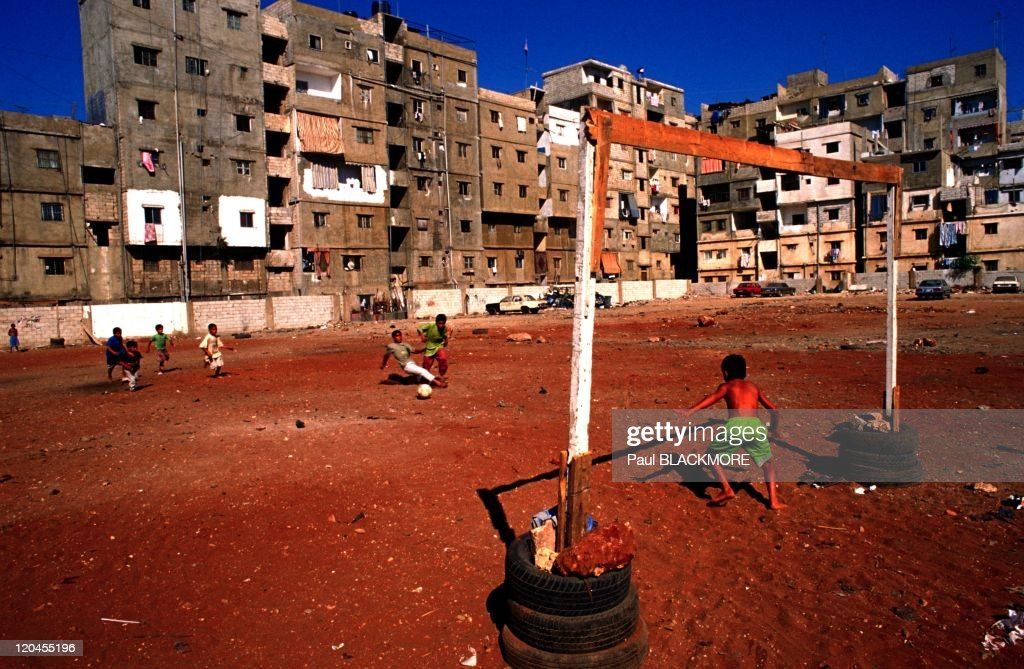 The new Beirut in Lebanon on October 18, 2002 - Shatila Boys play football in the refugee camp.