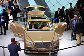 The new Bentley Bentayga is displayed at the Bentley stand at the 2015 IAA Frankfurt Auto Show during a press day on September 16 2015 in Frankfurt...