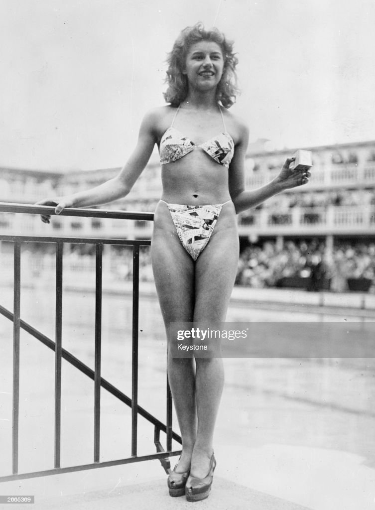 The new 'Bikini' swimming costume which caused a sensation at a beauty contest at the Molitor swimming pool in Paris Designer Louis Reard was unable...