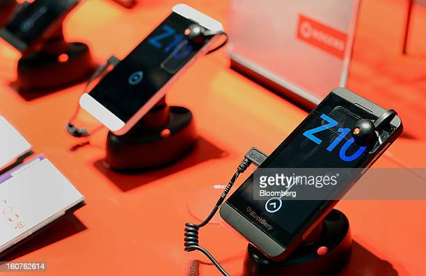 The new Blackberry Z10 sits on display on the first day of sales at a Rogers Communications Inc store in Toronto Ontario Canada on Tuesday Feb 5 2013...