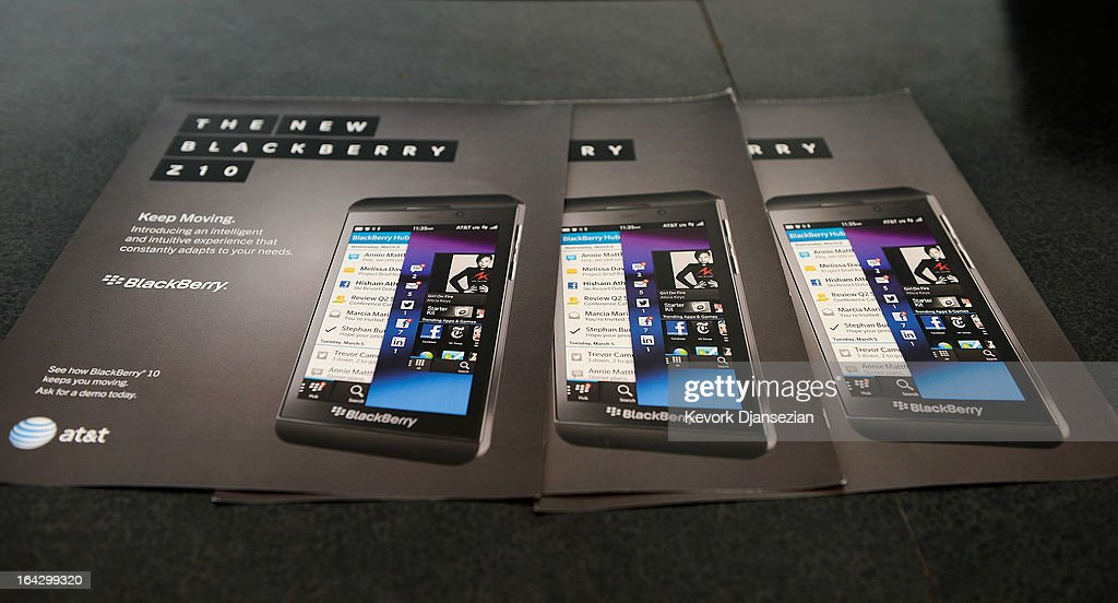 The new BlackBerry Z10 smartphone is displayed at an AT&T store after it went on sale in the U.S. on March 22, 2013 in Beverly Hills, California. BlackBerry made a major shift in design by swapping its signature keyboard for a full touch-screen. The company is expected to launch its Q10 smartphone in the spring, incorporating both a touch-screen and keyboard.
