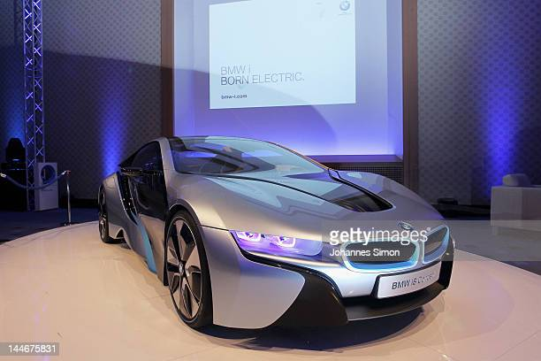 The new BMW i8 concept car is displayed at the second day of the CGDC Annual Meeting on May 17 2012 in Vienna Austria The Center for Global Dialogue...