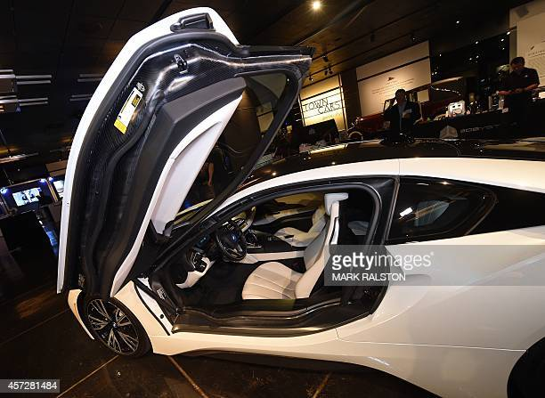 The new BMW i8 hybrid sports car at the Luxury Technology Show in Beverly Hills on October 15 2014 The car which was launched in September this year...