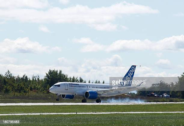 The new bombardier aircraft CSeries lands in Mirabel Quebec on September 16 2013 Bombardier Inc carried out the maiden flight of its CSeries hoping...