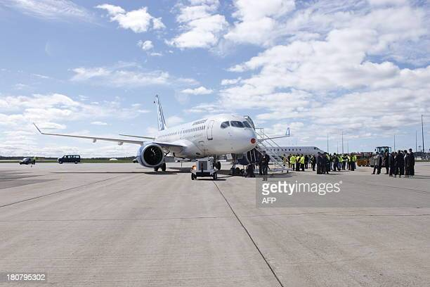 The new bombardier aircraft CSseries is seen in Mirabel Quebec on September 16 2013 Bombardier Inc carried out final preparations for the maiden...