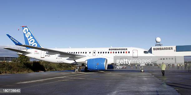 The new bombardier aircraft CSseries is shown in Mirabel Quebec as it is due to take off for the first time on September 16 2013 Bombardier Inc...