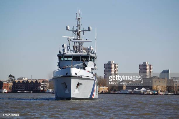 The new Border Force cutter HMC Protector makes her way up the River Thames from Gravesend on March 16 2014 in London England The cutter officially...