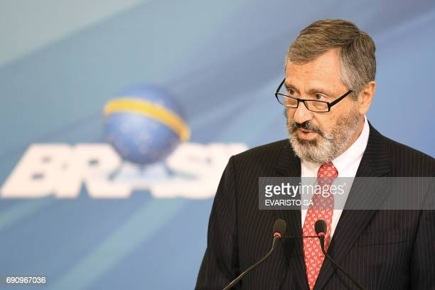 The new Brazilian Minister of Justice Torquato Jardim delivers a speech during his inauguration ceremony at Planalto Palace in Brasilia on May 31...