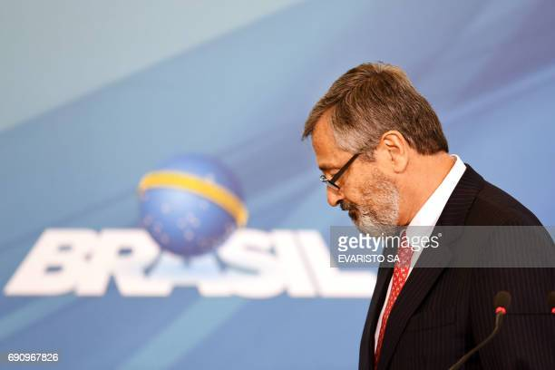 The new Brazilian Minister of Justice Torquato Jardim leaves at the end of his inauguration ceremony at Planalto Palace in Brasilia on May 31 2017...
