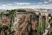 The New Bridge Ronda or Puente Nuovo. It joins the old town with the new town and spans the 120 metre deep Tajo ravine. It was built in 1751.