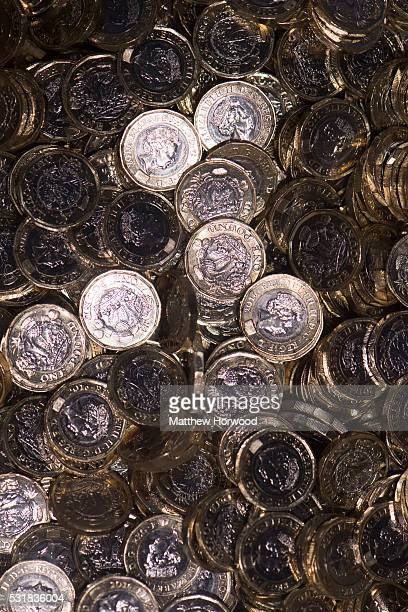 The new British £1 coin displayed during the opening of the Royal Mint Experience at the Royal Mint on May 17 2016 in Pontyclun Wales The new pound...