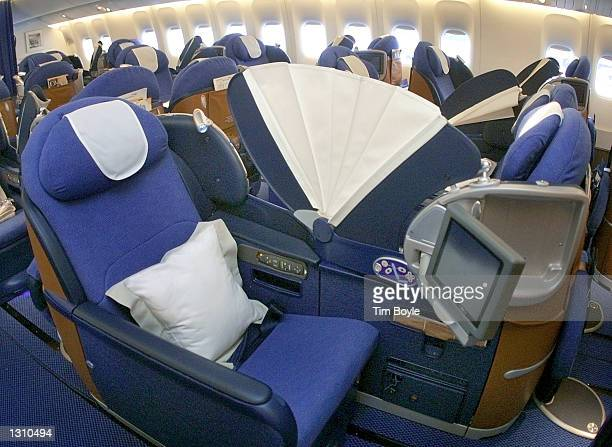 The new British Airways Club Worldbusiness class cabin with seats that open into a fully flat beds is debuted December 7 2000 in a Boeing 777 jet at...