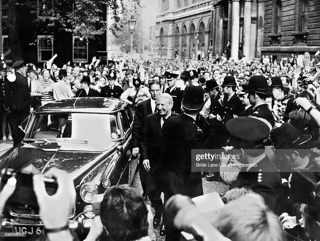 The new British Prime Minister Edward Heath arrives at Number 10 Downing Street in London after meeting the Queen at Buckingham Palace following a...
