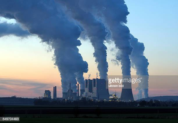 The new brown coal power plant Neurath II of RWE AG at left the old power plant Neurath I