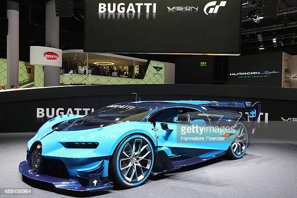 The new Bugatti Vision GT stand at the Bugatti stand at the 2015 IAA Frankfurt Auto Show during a press day on September 16 2015 in Frankfurt Germany...
