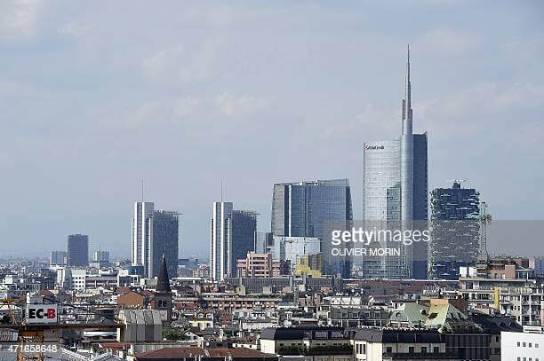 The new business area of Milan is seen from the roof of the Duomo on April 30 2015 The site is far from finished it has been plagued by corruption...