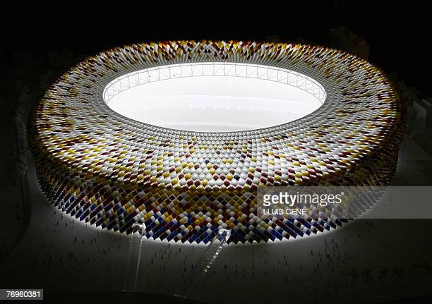 The new Camp Nou Stadium scale model by English architect Norman Foster is displayed in Barcelona 22 September 2007 The studios of architect Norman...