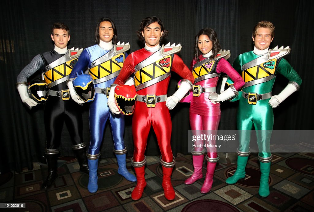 The new cast of Power Rangers Dino Charge <a gi-track='captionPersonalityLinkClicked' href=/galleries/search?phrase=James+Davies&family=editorial&specificpeople=224593 ng-click='$event.stopPropagation()'>James Davies</a> (Black Dino Charge Ranger), Yoshi Sudarso (Blue Dino Charge Ranger), Brennan Mejia (Red Dino Charge Ranger), Camille Manning Hyde (Pink Dino Charge Ranger) and Michael Taber (Green Dino Charge Ranger) made their epic debut at the 4th bi-annual Power Morphicon Convention in Pasadena, CA today.
