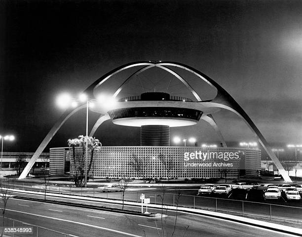 The new Central Theme Building at Los Angeles International Airport Los Angeles California 1961