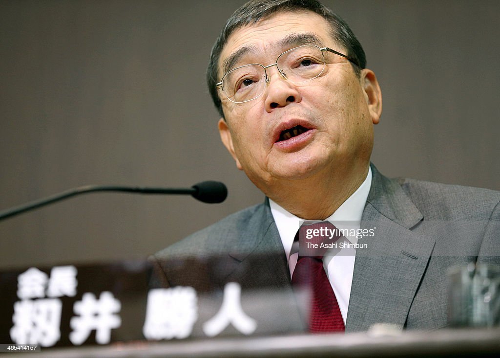 The new chairman of public broadcaster Japan Broadcasting Corp. (NHK) Katsuto Momii speaks during a press conference on January 25, 2014 in Tokyo, Japan. The news conference in Tokyo on Jan. 25 was intended to mark Katsuto Momii's appointment to the top post at NHK, but he instead raised eyebrows by defending the wartime 'comfort women' system, criticizing South Korea, pushing Japan's territorial claims, and downplaying opposition against the state secrets protection law.