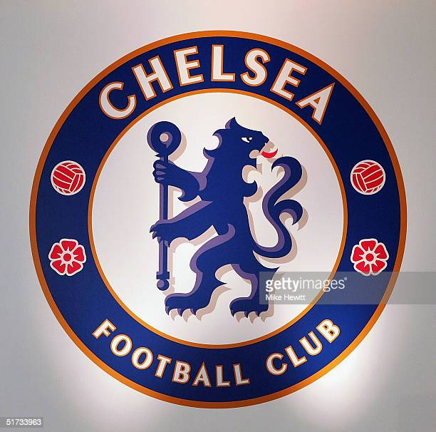 The new Chelsea badge is unveiled during a Chelsea Football Club press conference on November 12 2004 at Stamford Bridge London