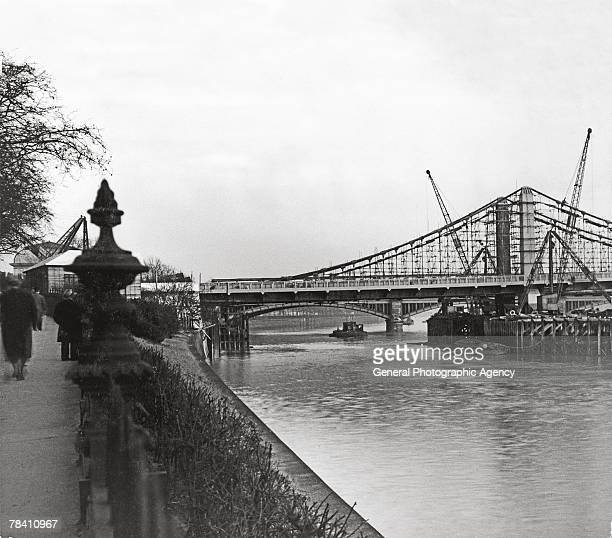 The new Chelsea Bridge nears completion on the River Thames 20th January 1937
