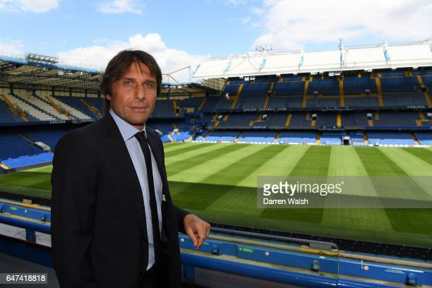 The new Chelsea Manager Antonio Conte poses at Stamford Bridge on July 14 2016 in London England