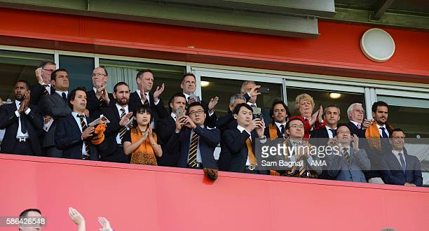 The new Chinese owners of Wolverhampton Wanderers Jeff Shi of Fosun International Limited and Wolverhampton Wanderers Guo Guangchang the chairman of...
