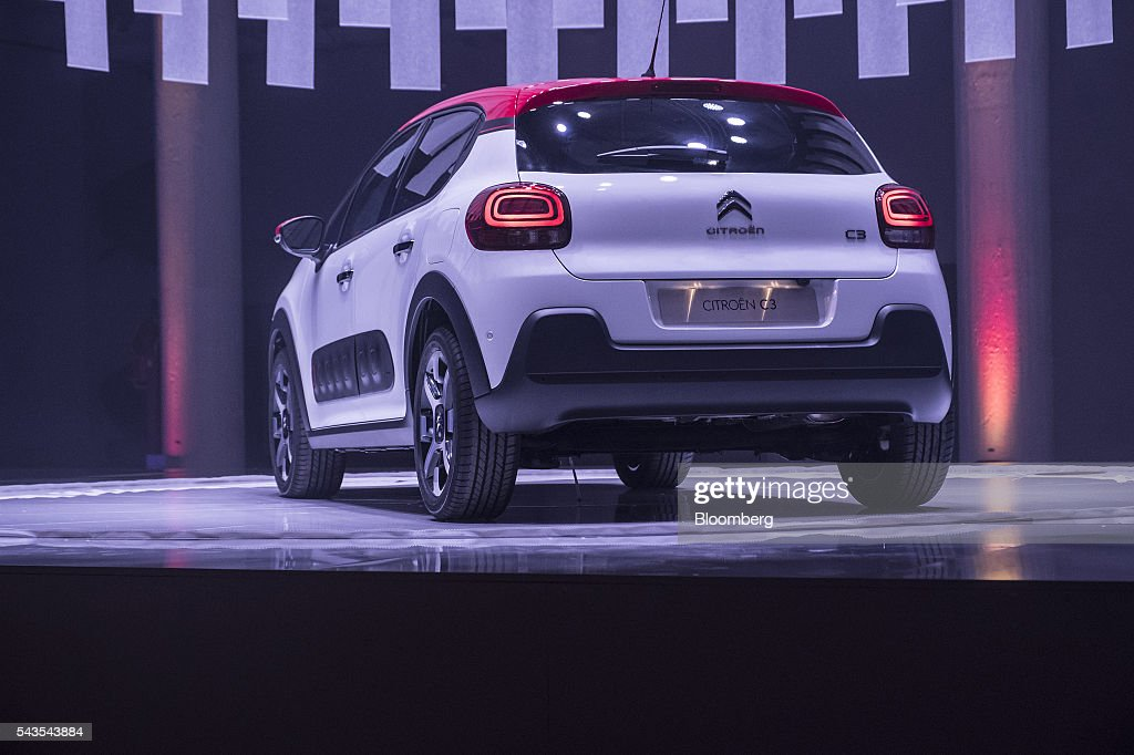 The new Citroen C3 automobile, manufactured by PSA Peugeot Citroen, is unveiled in Lyon, France, on Wednesday, June 29, 2016. The biggest test of Citroen's revival will be a new version of the C3 hatchback, traditionally the brand's top-selling model. Photographer: Balint Porneczi/Bloomberg via Getty Images