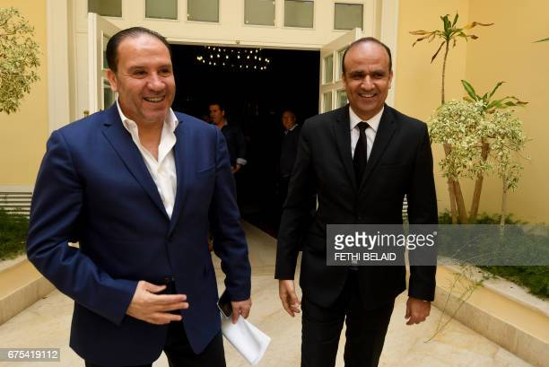 The new coach of Tunisia Football team Nabil Maaloul and the President of the Tunisian football federation Wadii Jari arrive to give a press...