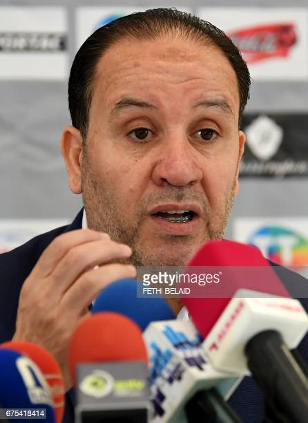 The new coach of Tunisia's football team Nabil Maaloul gives his first press conference in his new position on May 1 2017 in Tunis Maaloul replaces...