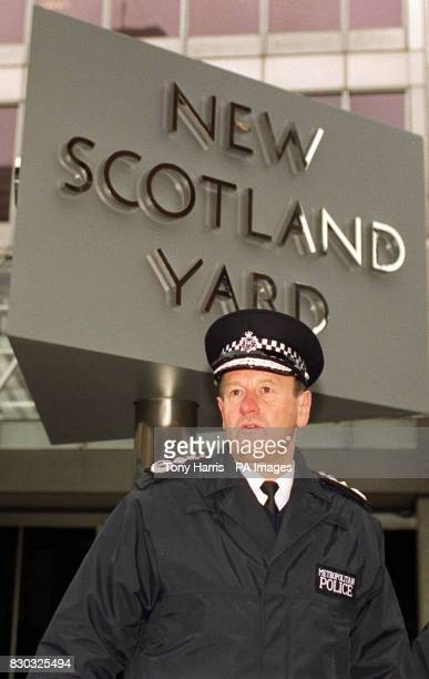 The new Commissioner of the Metropolitan Police Sir John Stevens outside Scotland Yard the force's headquarters London Sir John has issued a 10point...