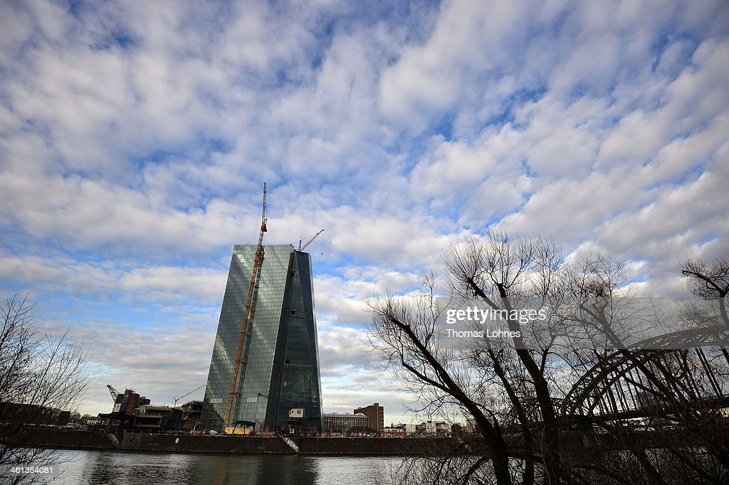 The new construction for the European Central Bank (ECB) stands on the eastside of Frankfurt on January 07, 2014 in Frankfurt am Main, Germany.