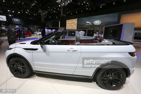 The new convertible Range Rover Evoque is presented at the 2015 Los Angeles Auto Show on November 18 2015 in Los Angeles California The LA Auto Show...