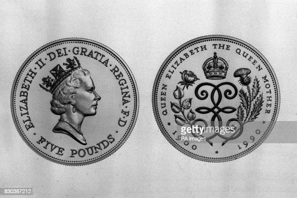 The new crown on a five pound coin produced by the Royal Mint issued to commemorate the Queen Mother's 90th birthday It is the first crown to be...