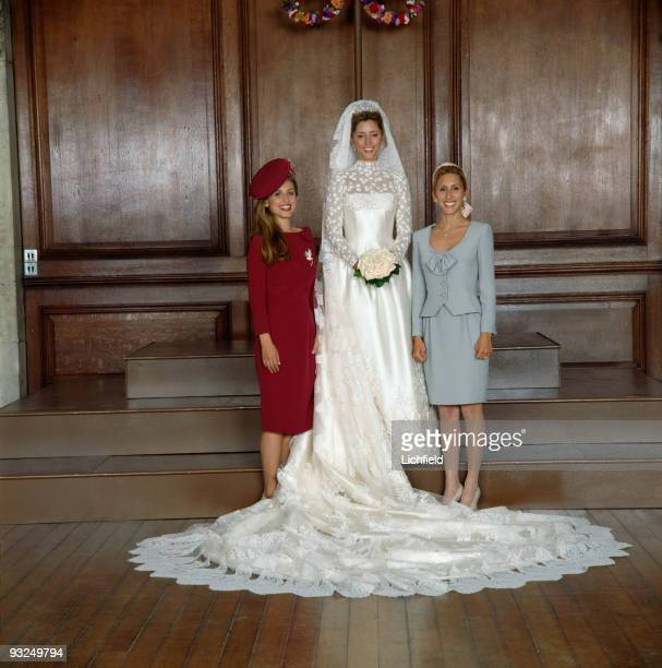 The new Crown Princess MarieChantal of the Hellenes with her sisters Pia Getty and Miss Alexandra Miller at Hampton Court Palace on 1st July 1995...